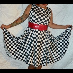 Grace Karin Black and White Checkered Dress